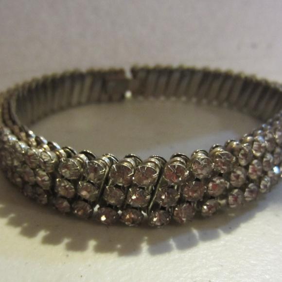 Vintage rhinestone expandable choker necklace